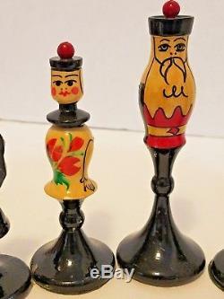 Vintage Russian Nesting Doll Matryoshka Babushka Style Chess Set Pieces Wooden