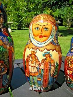 Vintage Russian Nesting Dolls 10PC Set 1by Artist Zhishkina M. V