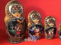Vintage Russian Nesting Dolls 10 Piece Painted Scenes Gold Accent 9 1/4h By 5w