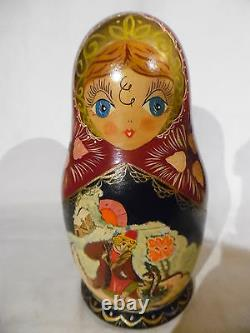 Vintage Russian Nesting Dolls 8 Inch 7 Piece Set Signed And Dated 1993 (B5)