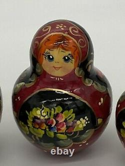 Vintage Russian Nesting Dolls 9 Inch 12 Piece Set Signed And Dated
