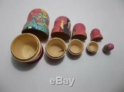 Vintage Russian Nesting Dolls CINDERELLA Prince CHARMING Set Of 5