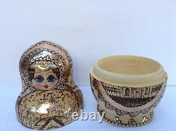 Vintage Russian Nesting Dolls Matryoshka Wood Burned, Gold Architectural Motif