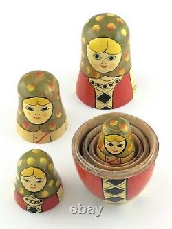 Vintage Russian Nesting Dolls Set Of 5 Hand Decorated And Varnish L711