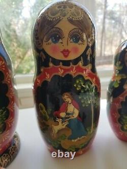 Vintage Russian Nesting Dolls signed Ceprueb Nocag- Set of 10