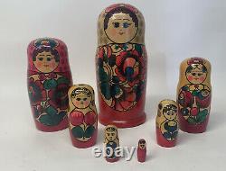 Vintage Russian Nesting Matryoshka Hand Painted Wooden Dolls 7 Piece Set