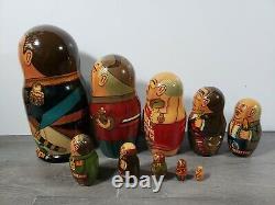 Vintage Russian Political Leaders Matryoshka Nesting Dolls Wooden Set of 10 EUC