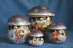 Vintage Russian Purple Lacquer Mushroom Dome Troika Winter 5 Nesting Dolls Box