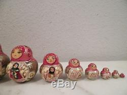 Vintage Russian Red & Pink Girl Nesting Dolls 10 Piece Set 5 1/2 Tall Handpaint