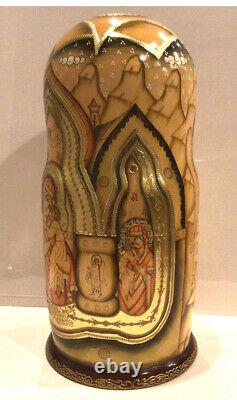 Vintage Russian Religious Icon Nesting Doll 15pc Holy Faces 13h 90-s