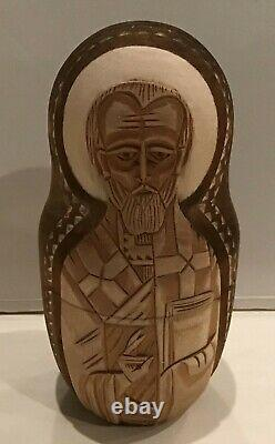 Vintage Russian Religious Icon Nesting Doll Carved 10pc Holy Faces 10h 90-s
