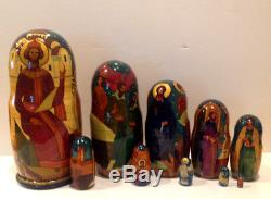 Vintage Russian Religious Icons 10 Nest. Doll Holy Faces 10.5 Krilova 90-s
