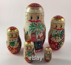 Vintage Russian Santa Matryoshka nesting dolls wooden 5 piece 6.25