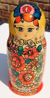 Vintage Russian Semenov Large Nesting Dolls 10 Pieces