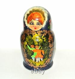 Vintage Russian Sergiev Posad Matryoshka Nesting Dolls Hand Painted Signed 1998