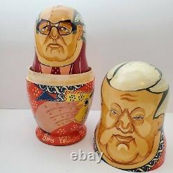 Vintage Russian Soviet Union Leaders Hand Painted Matryoshka Nesting Dolls Set