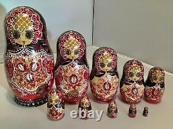 Vintage Russian Traditional Hand Painted Lacquer MATRYOSHKA Nesting Dolls 10pcs