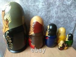 Vintage Russian USSR Nesting Dolls Presidents Set of 7 matryoshka Stalin Lenin