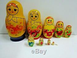 Vintage Russian USSR Wooden 10 Piece Hand Painted Matryoshka Nesting Dolls 7.5