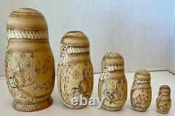 Vintage Russian Wooden Hand Carved & Painted Nesting Dolls Set Of 5 Signed