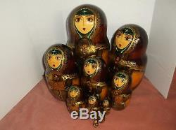 Vintage Russian lacquered 10 pc wooden nesting dolls, signed, hand-painted, 10