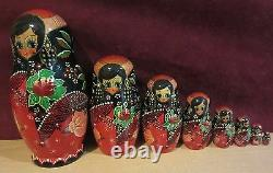 Vintage Russian nesting dolls Set of two both signed ornate