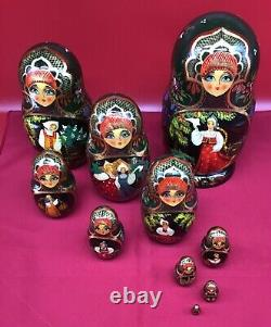 Vintage SIGNED Russian Nesting Dolls 10 piece set fine hand painted rare 10m