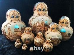 Vintage Set 10 Russian Hand Painted collector Nesting doll S. Pasad 96