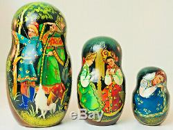 Vintage Set Of 7 Matryoshka RUSSIAN DANCERS Artist Signed Nesting Dolls 8
