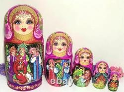 Vintage Set Wooden MATRYOSHKA Nesting Dolls Russian Fairy Tale Hand Painted
