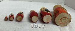 Vintage Set of 8 Old Russian USSR Wooden Hand Painted Matryoshka Nesting Doll