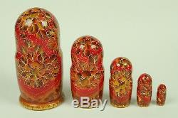 Vintage Signed Matryoshka Russian Nesting Dolls 5 Pcs Large 6 1/4 Pretty Girl
