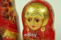 Vintage Signed Matryoshka Russian Nesting Dolls 5 Pcs Large Pretty Girl