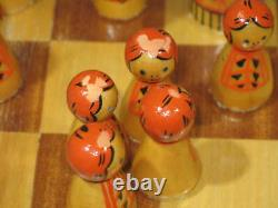 Vintage USSR Russian Nesting Doll Wooden Chess Set 3-1/8 King 12-5/8 Board