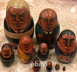 Vintage Wood Hand PaInted Russian Presidents Leaders Nesting Dolls 10 Pcs 8