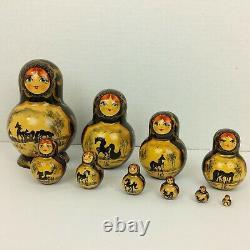Vintage Wood Russian Matryoshka 10 Pc Nesting Dolls Hand Painted Decor