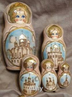 Vintage Wood Wooden Russian Nesting Doll Set Hand Painted Artist Signed 10 Dolls