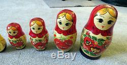 Vintage Wooden Nesting Dolls Set 12 pieces Russian Matryoshka Babushka Stacking
