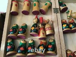 Vintage Wooden Russian Nesting Doll Chess Set USSR Estate Fresh