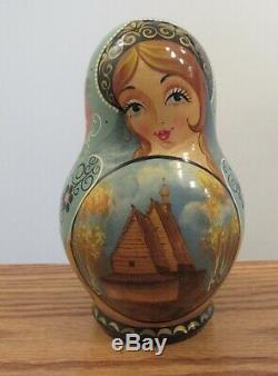 Vintage signed Russian nesting dolls Matryoshka 7.5 wooden church St. Nicholas