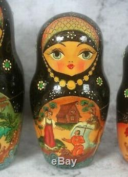 Vtg 1999 Signed Russian Fairy Tale Baba Yaga 12 Pc Nesting Doll Painted Lacquer
