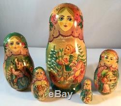 Vtg 5 Pcs Signed Russian Matryoshka Babushka Christmas Eve Nesting Doll