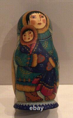 Vtg. Russian Matryoshka 5 Nest Doll Eskimo Family Hand Painted 1998 Signed