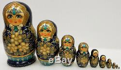 Vtg Russian Matryoshka Nesting Doll Ceprueb Nocag Hand Painted Artist Signd 10pc