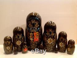 Vtg. Russian Nesting 10 Pc Matryoshka Doll Hand Painted Romanov Dinasty10
