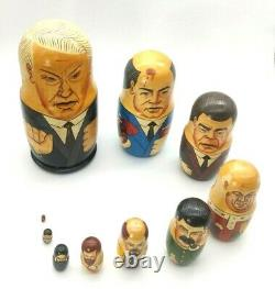 Vtg Wood Hand Painted Russian Leaders Nesting Dolls Matryoshka Set of 10