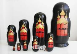 Vtg signed Palenkov Moskow 1993 Russian Nesting Matryoshka Dolls 9pcs. BIG 28cm