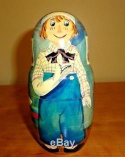 Wooden Golden Cockerel Russian Nesting Doll 5 piece Set Raggedy Ann Matryoshka