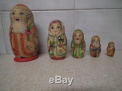 XMAS Russian Matryoshka CHRISTMAS Nesting Doll 5 pce Gold leaf signed vintage